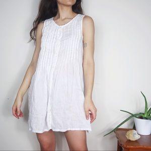 CP Shades White Linen Sleeveless Tunic Dress